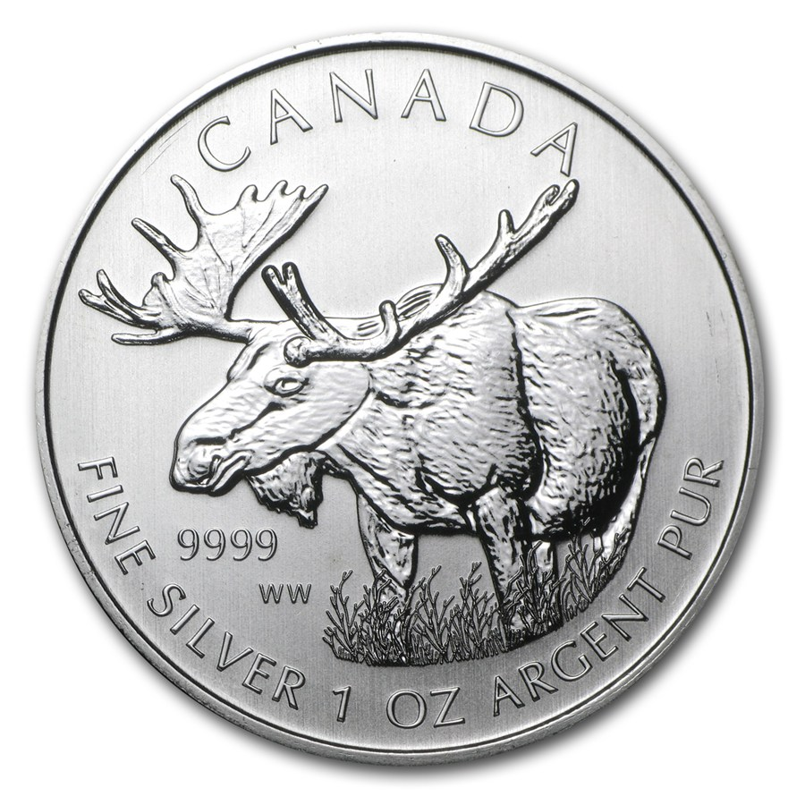 CANADA 2012 $5 Silver Maple Leaf - Canadian Wildlife Series - Moose - 1oz Fine Silver Coin - #3 in Series