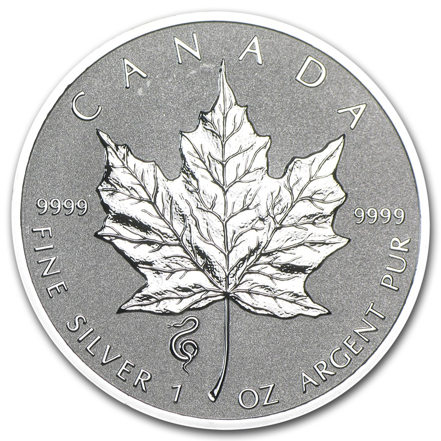 CANADA 2013 $5 High Relief Silver Maple Leaf with Lunar Snake Privy Mark 1oz Fine Silver Coin