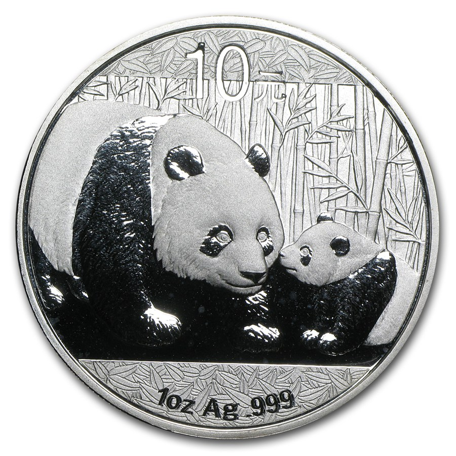 CHINA 2011 Panda Fine 1oz Silver Coin in Capsule Brilliant Uncirculated