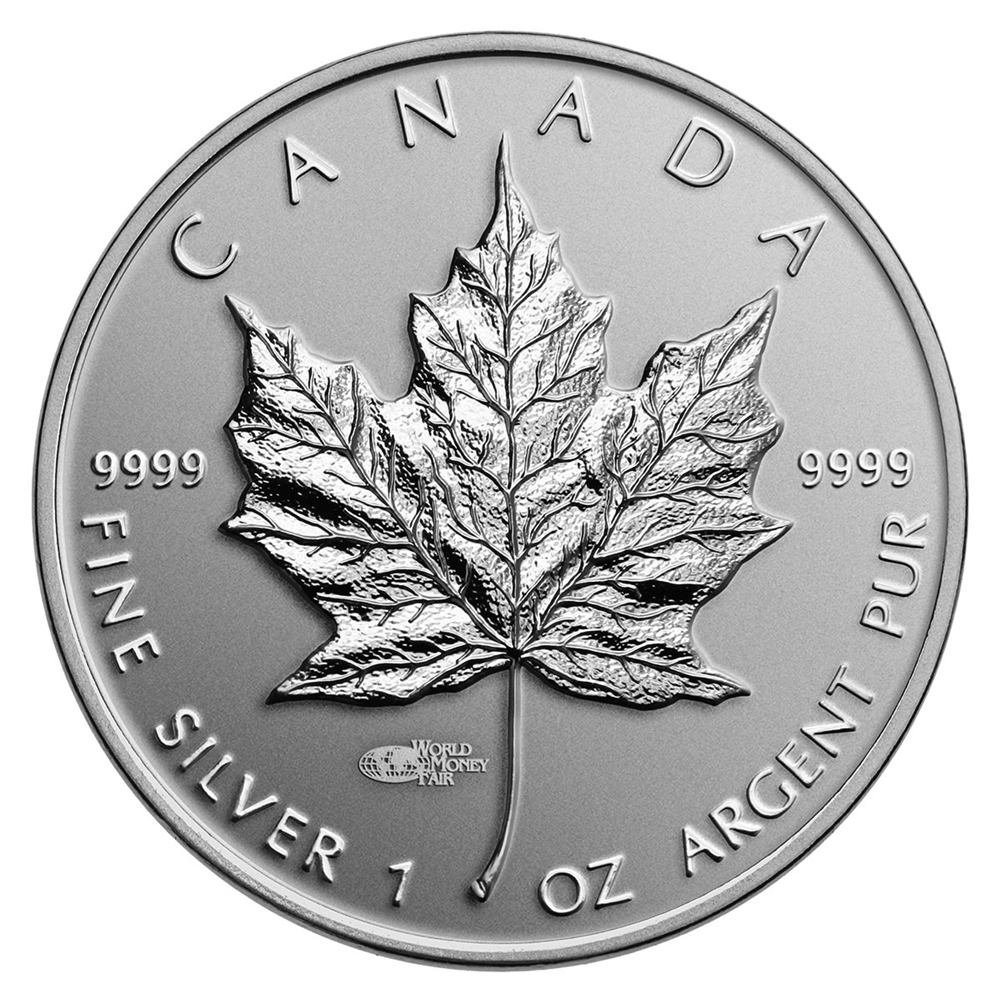 CANADA 2014 $5 High Relief Silver Maple Leaf with World Money Fair Privy Mark 1oz Fine Silver Coin